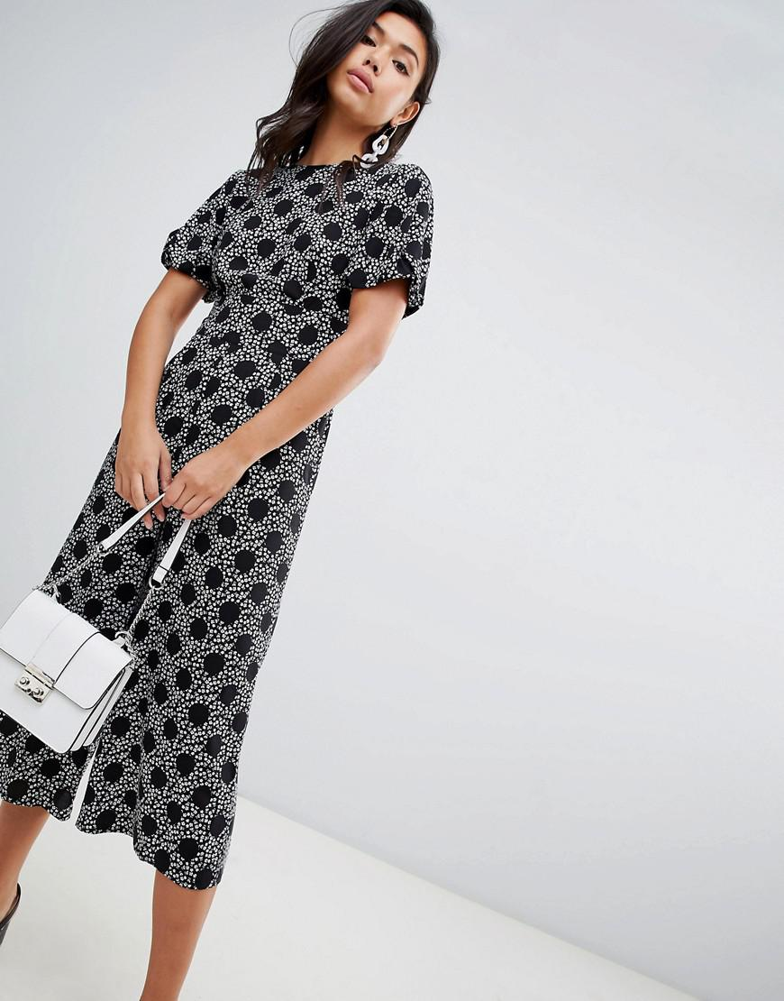 2828513ad92 ASOS. Women s Tea Jumpsuit With Balloon Sleeve In Spot And Floral Print