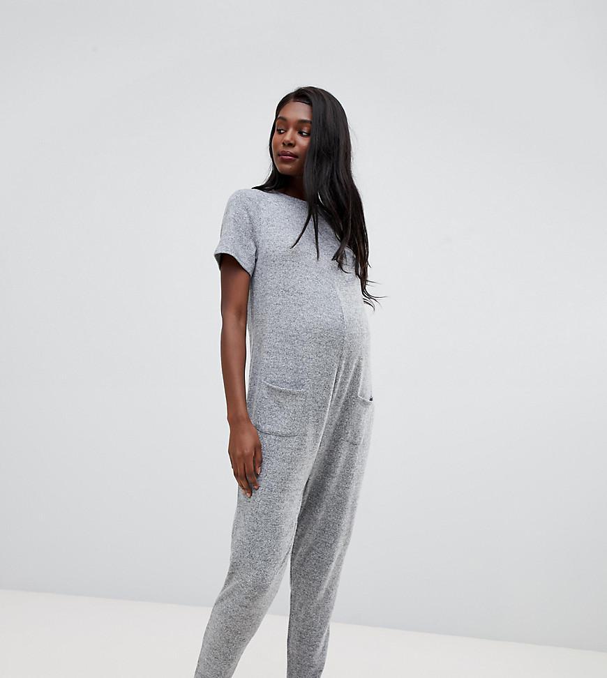 2526a1278d ASOS. Women s Gray Asos Design Maternity Lounge Short Sleeve Super Jumpsuit