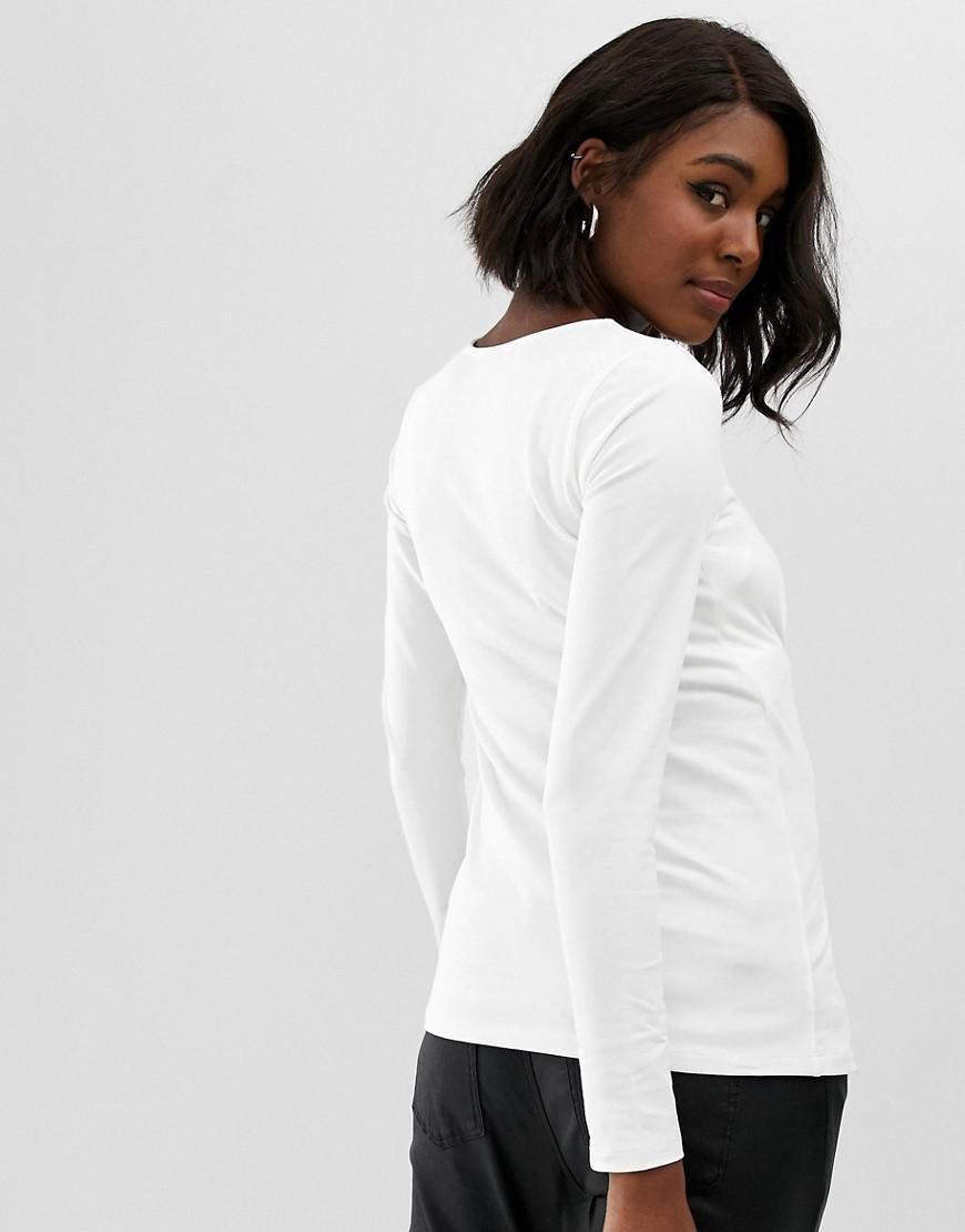 44ace90f2b1c7f Asos Asos Design Maternity Top With Sweetheart Neckline in White - Lyst