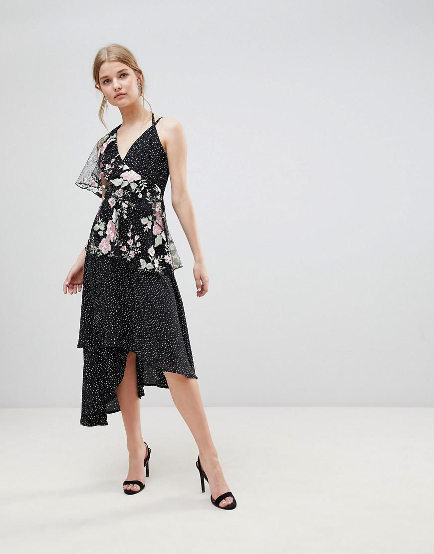 100% Original ASOS DESIGN Asymmetric Cami Midi Dress In Spot And Floral Lace Discount Sale Cheap Many Kinds Of XpprZCt