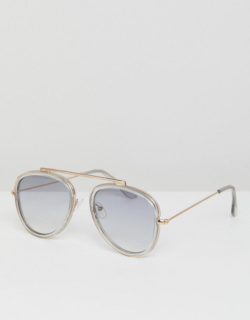 929128b0e9 Lyst - Asos Aviator Sunglasses In Crystal Gray With Gray Grad Lens ...