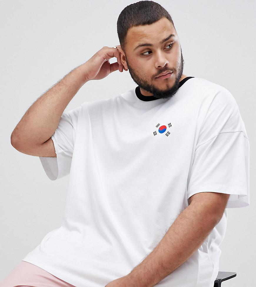 Asos Plus Oversized T Shirt With South Korea Flag Print And Chest