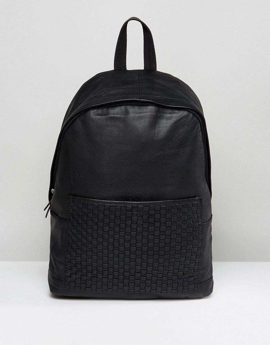 54d63d6d731 Asos Backpack In Black Leather With Woven Pocket in Black for Men - Lyst