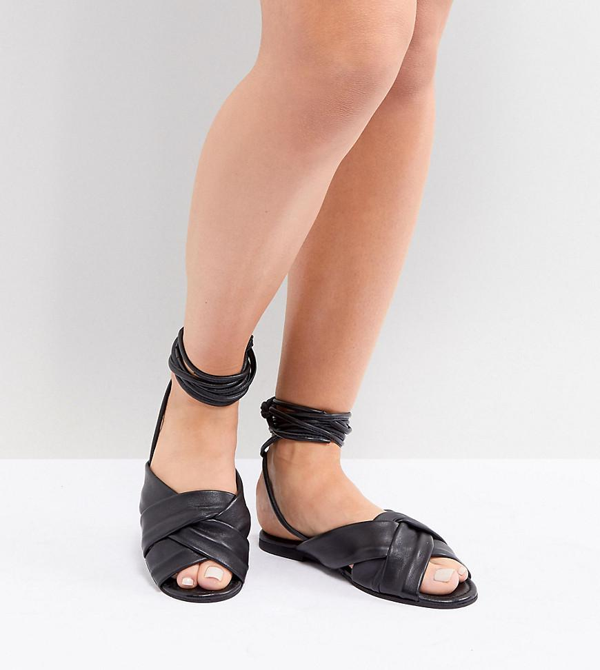 92386c6482187 ASOS. Women s Black Wide Fit Valley Leather Knotted Tie Leg Flat Sandals