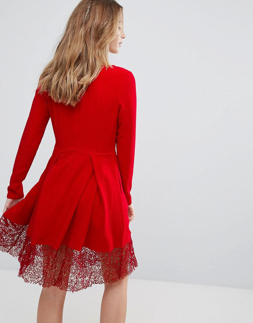 Lyst Traffic People Long Sleeve Skater Dress With Lace