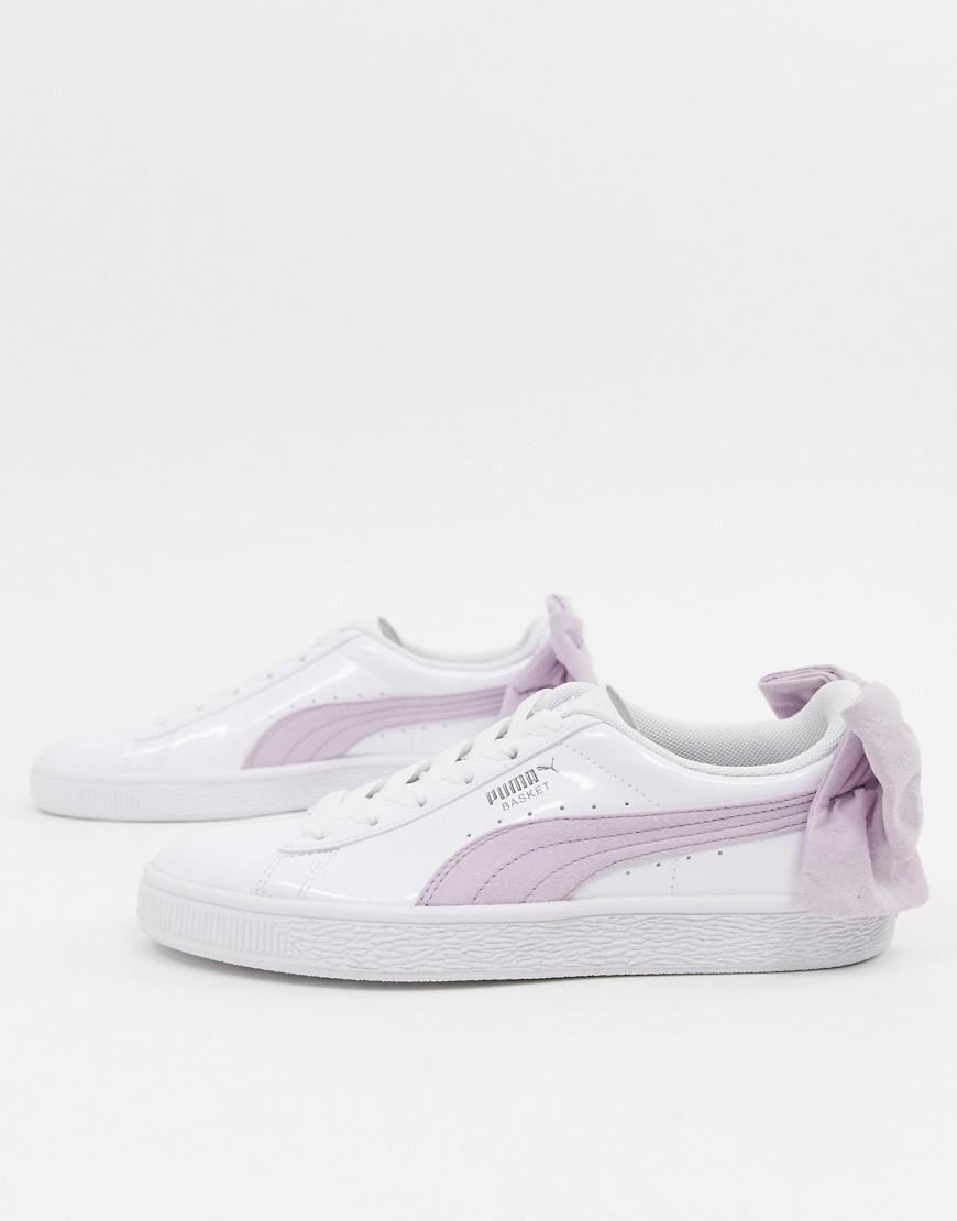 bfa0dd148f0 Lyst - PUMA Basket Pink Bow White Sneakers in Pink