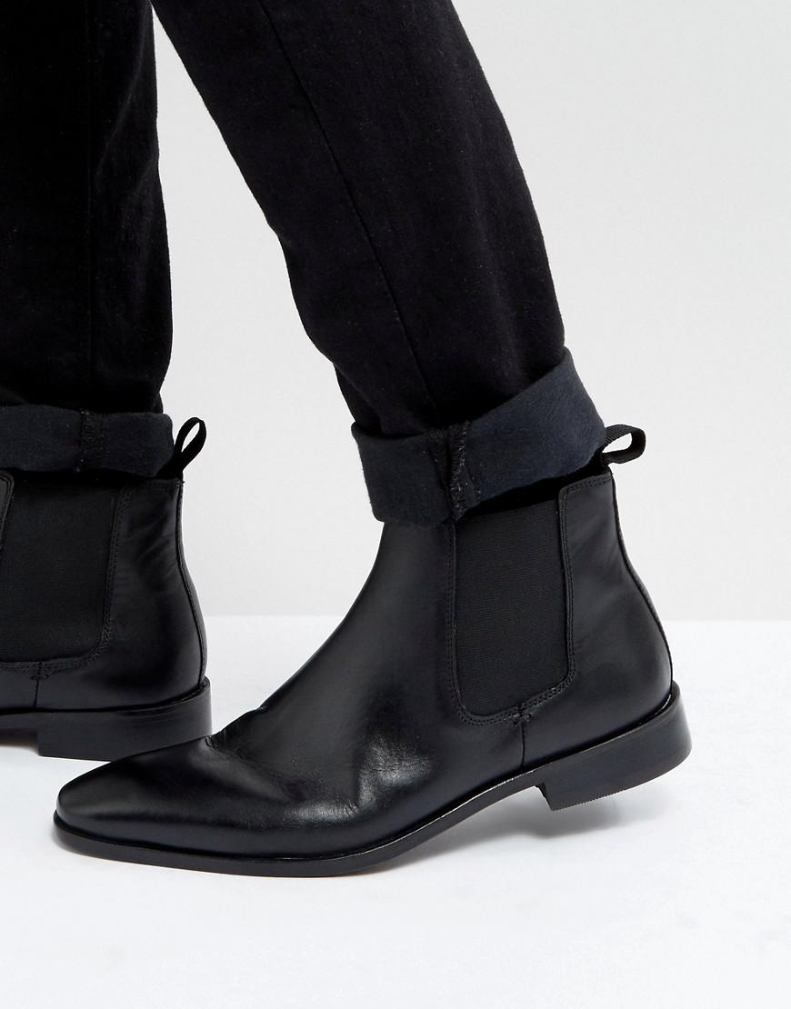 Lyst Dune Chelsea Boots In Black Leather In Black For Men