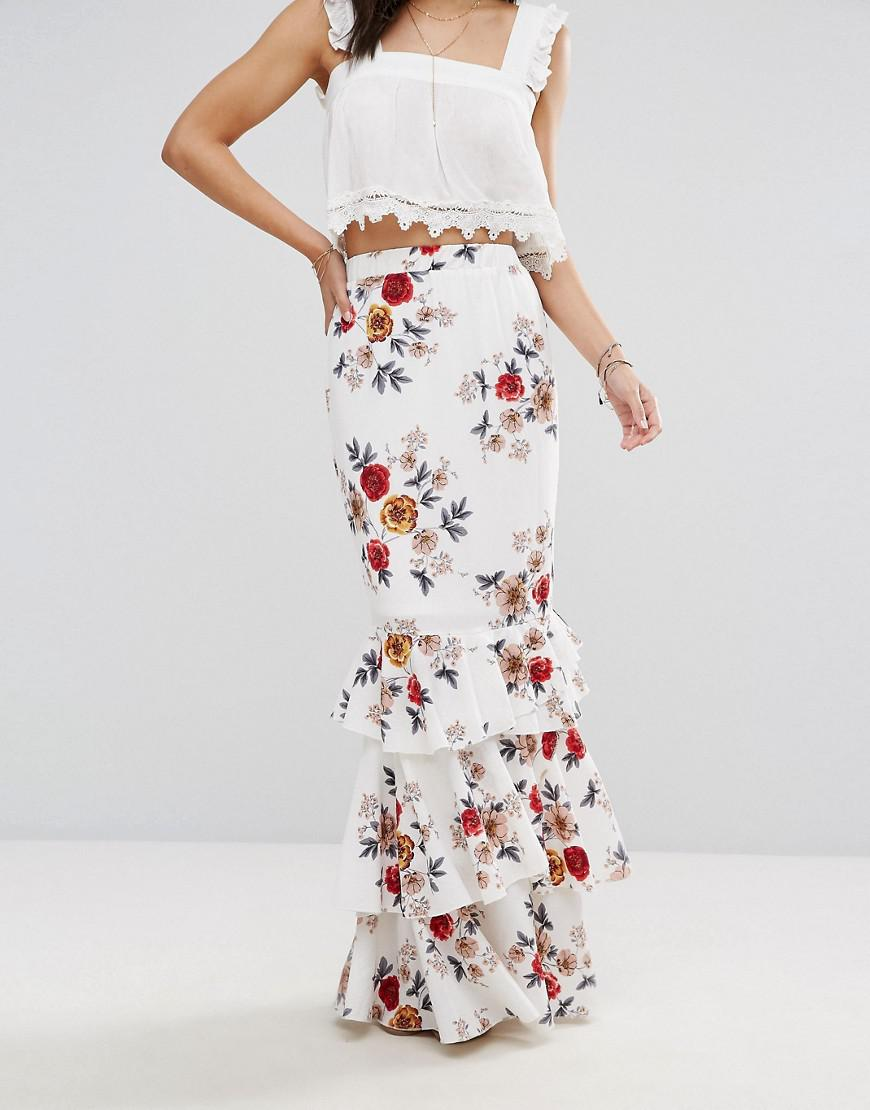 91d9209310174 Boohoo Floral Maxi Skirt With Ruffle Hem in White - Lyst