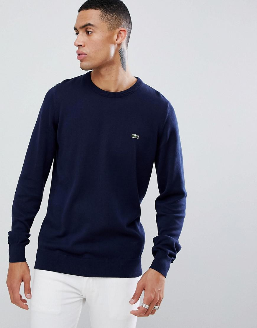 c6b2a6a9cd510d Lacoste Crew Neck Logo Jumper In Navy in Blue for Men - Save 54% - Lyst