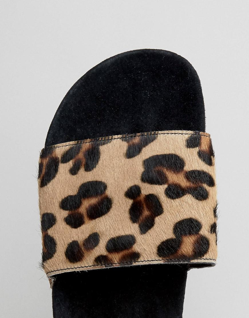 8d5ac30ace90b2 Lyst - adidas Originals Adilette Slides In Leopard Print Bb3109 in Black