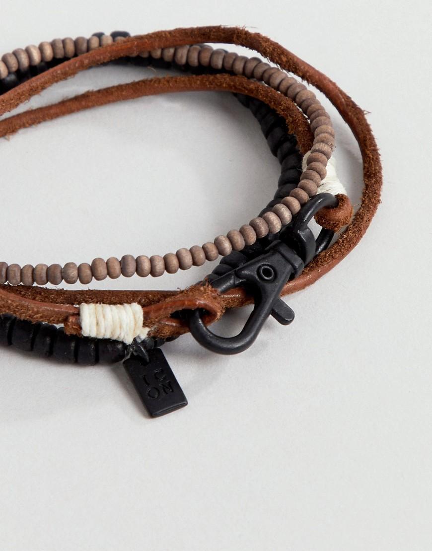 c32658ae46a0 Pack de 3 pulseras de cuero marrn y cuentas de Icon Brand de hombre ...