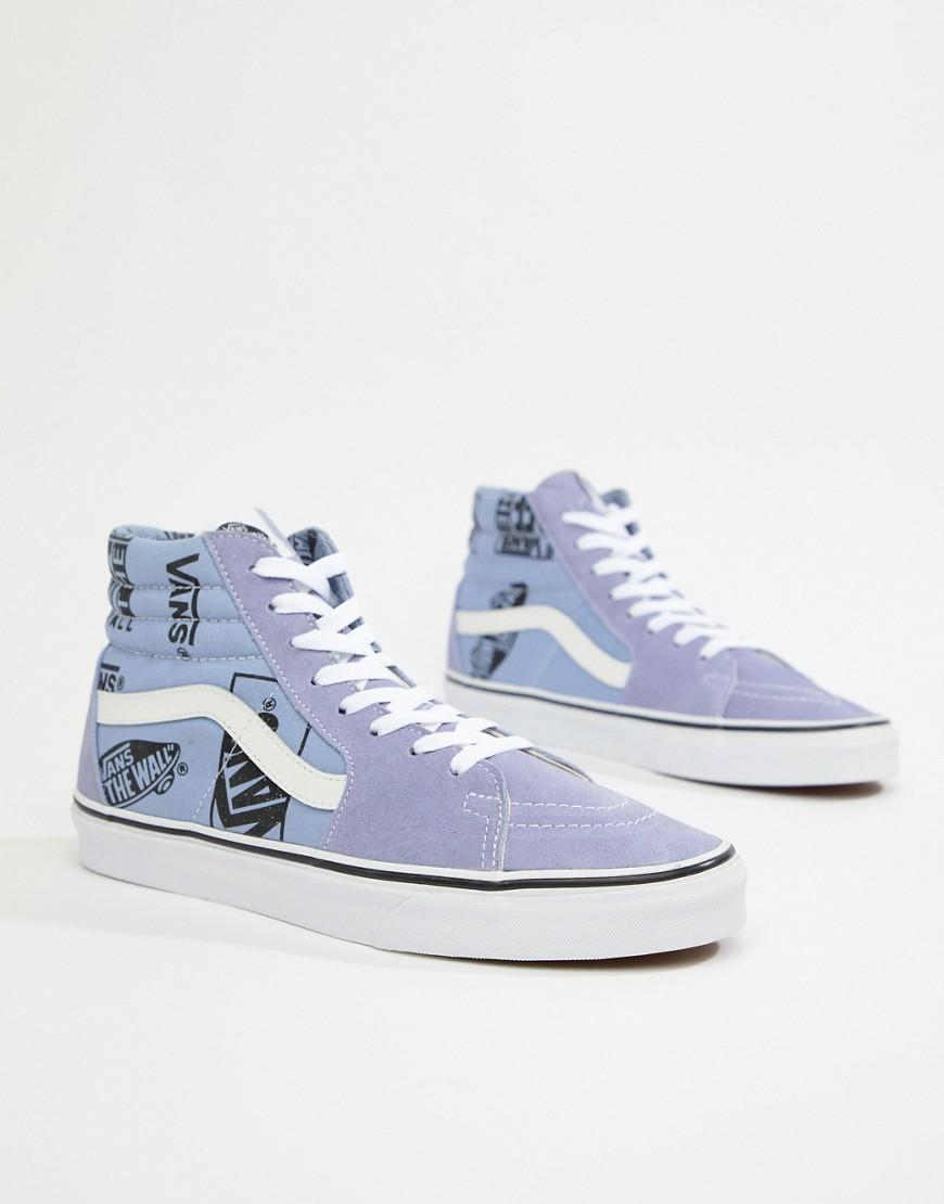 d99cf64262a9e2 Vans - Sk8-hi Trainers With Logo Print In Blue Vn0a38geubg1 for Men - Lyst.  View fullscreen