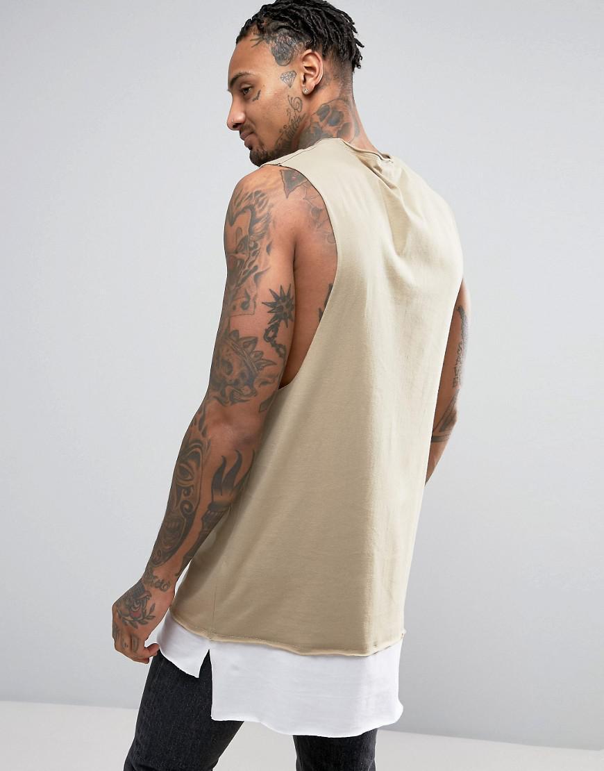 bae0cff1187d2 Lyst - ASOS Super Longline Sleeveless T-shirt With Contrast Raw Edge ...