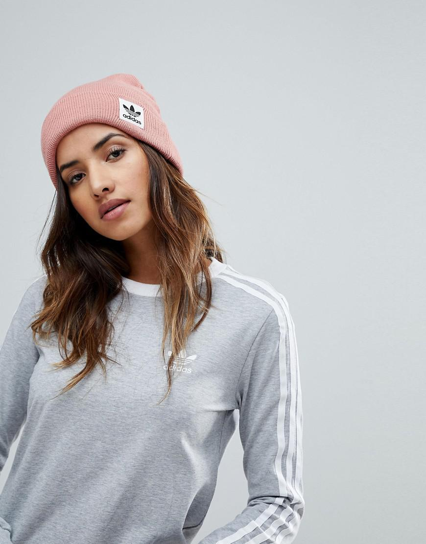 9fa282c1833b86 ... new style lyst adidas originals high beanie with trefoil logo in ash  pink in 29be0 b020a