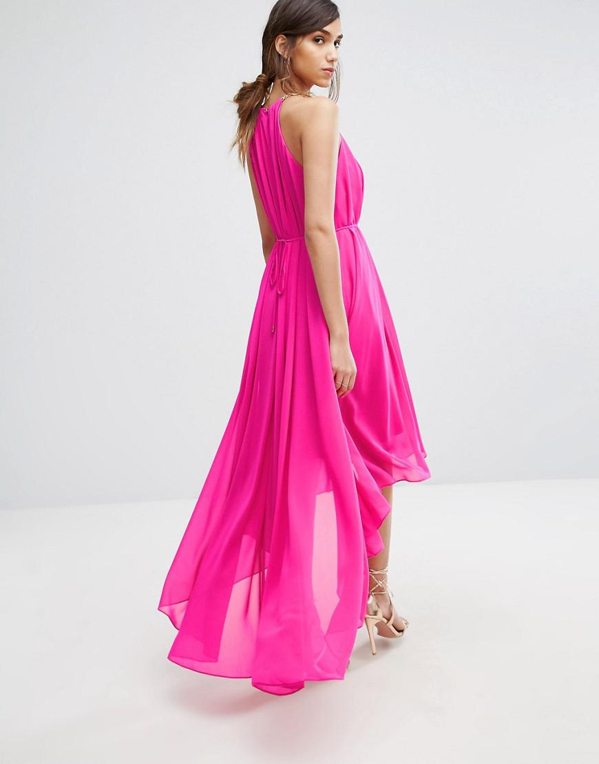 4ef529cf8c431 Lyst - Ted Baker Harpah High Low Dress With Folded Neckline in Pink