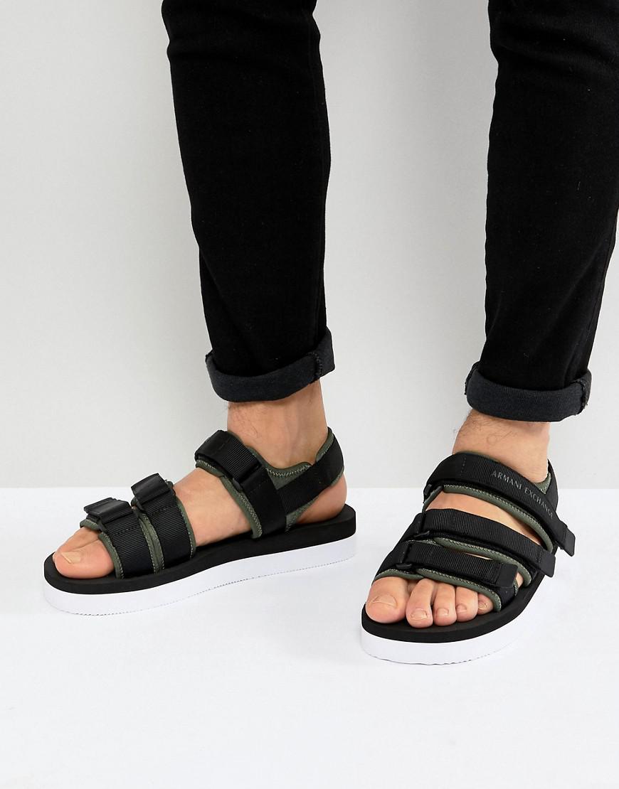 ea8f1d0b6 Lyst - Armani Exchange Retro Canvas Sandals in Black for Men