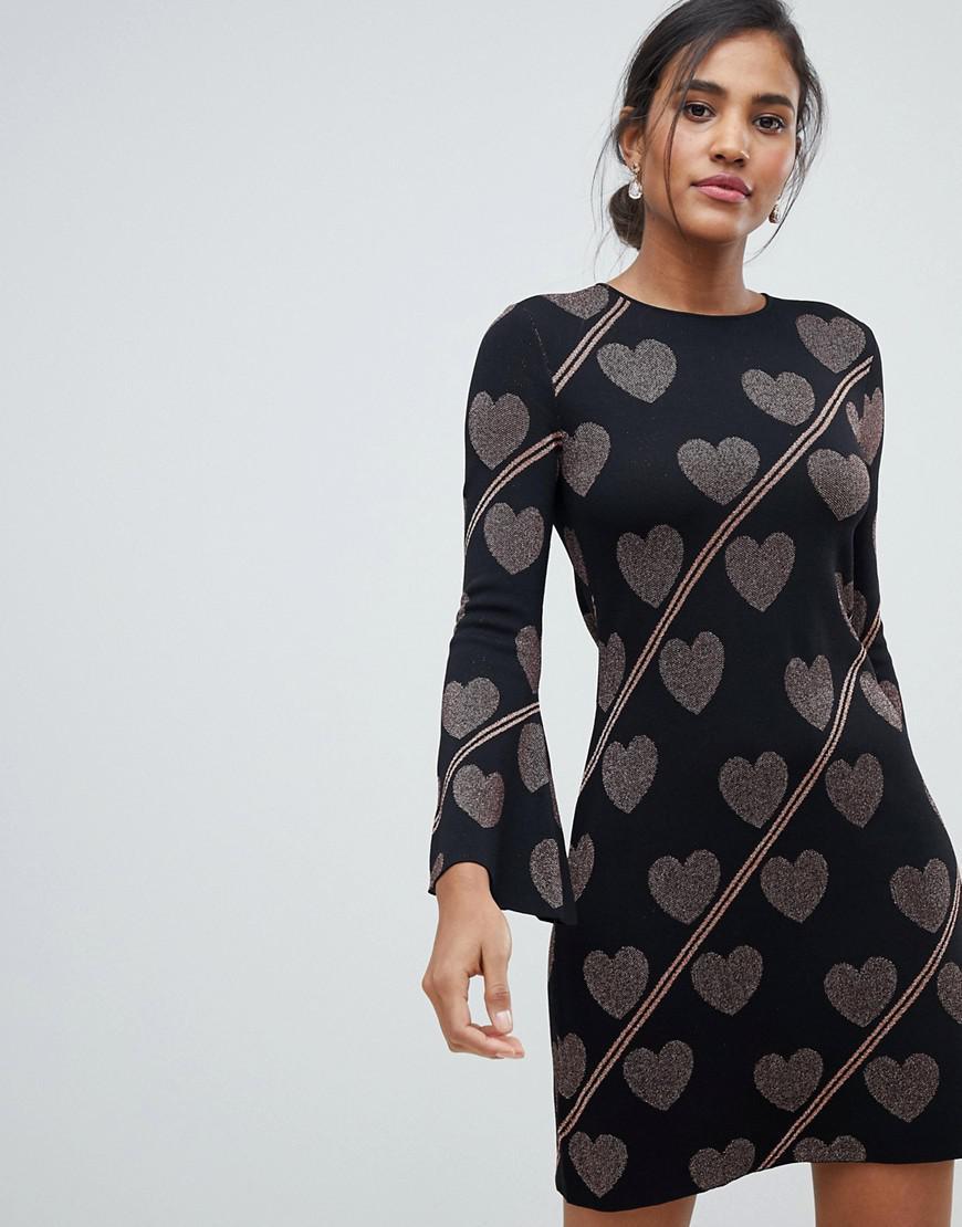 a0aa045e9005 Ted Baker Uzeniaa Glitter Heart Knit Swing Dress in Black - Lyst