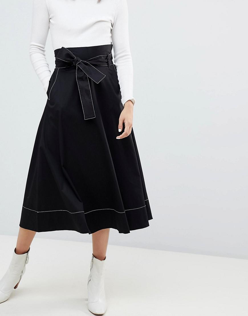 Buy Cheap Shop Limit Discount Kowtow Audition Midi Skirt with Contrast Stitching in Organic Cotton - Black Kowtow Best Sale Cheap Price ILSQj
