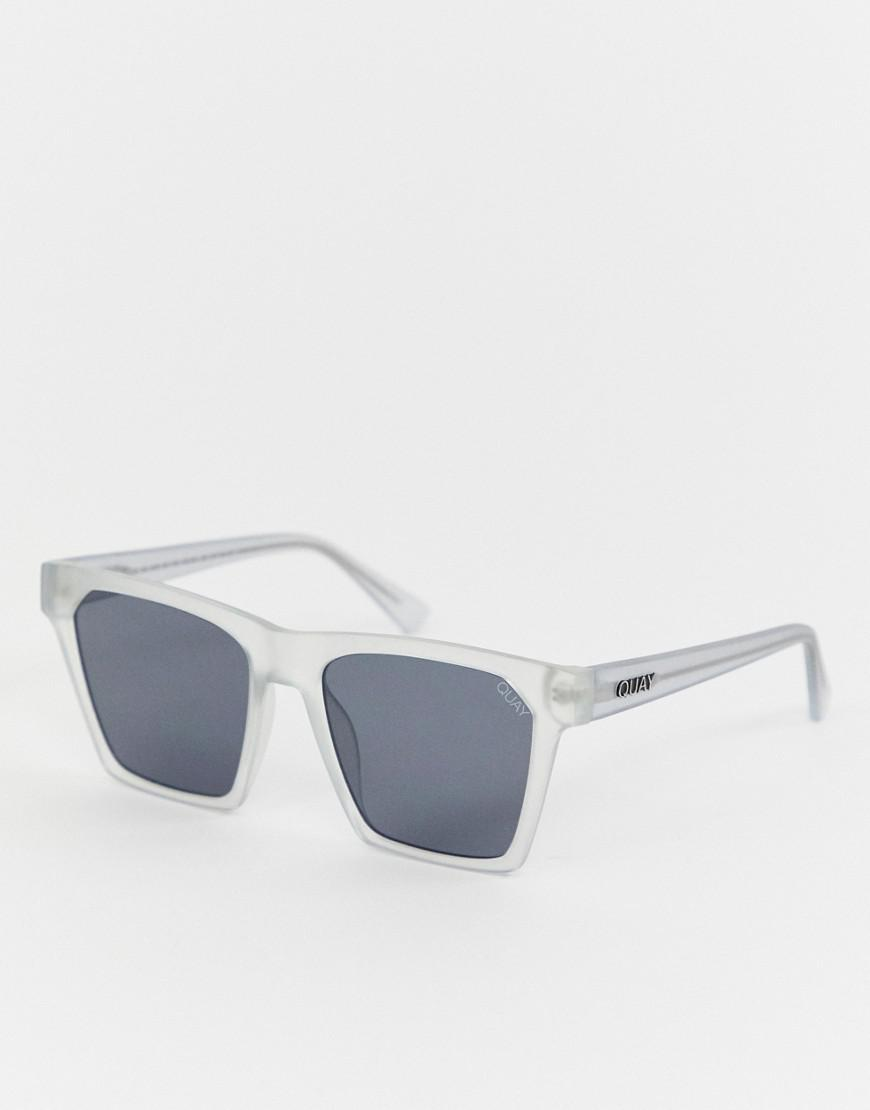 087d7f148 Quay Square Clear Frame Sunglasses in White - Save 16.66666666666667 ...