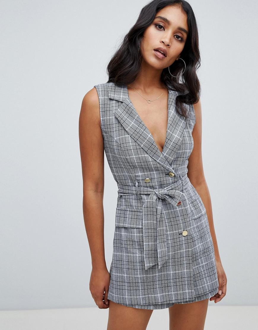 46ab2ba440 Lipsy. Women s Tux Playsuit In Monochrome Check