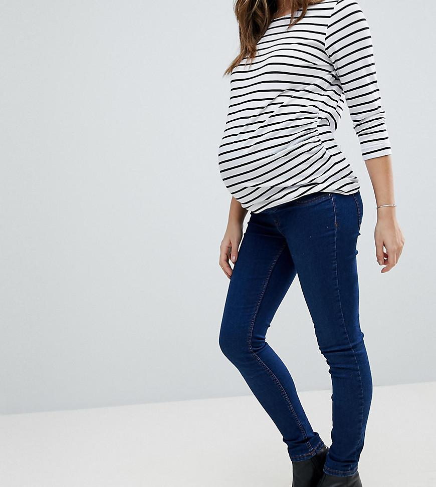 e3ad73ff3d6fd Lyst - New Look Over The Bump Jegging In Dark Blue in Blue