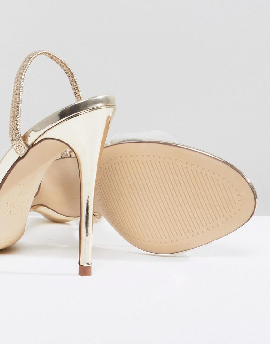Acrylic Vamp Sling Back Heeled Sandal - Gold New Look DeOhOeSk6