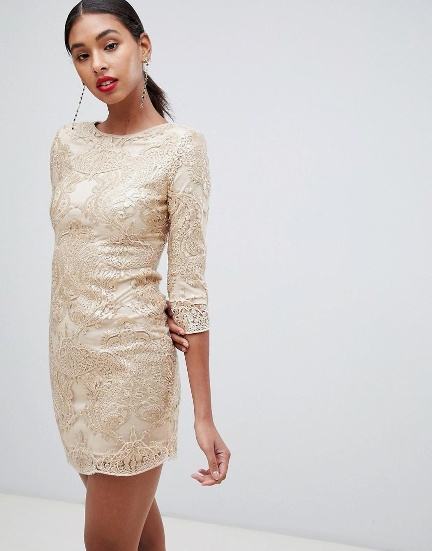 Lyst - TFNC London Baroque Patterned Sequin Mini Dress In Gold in ... dbbec656a