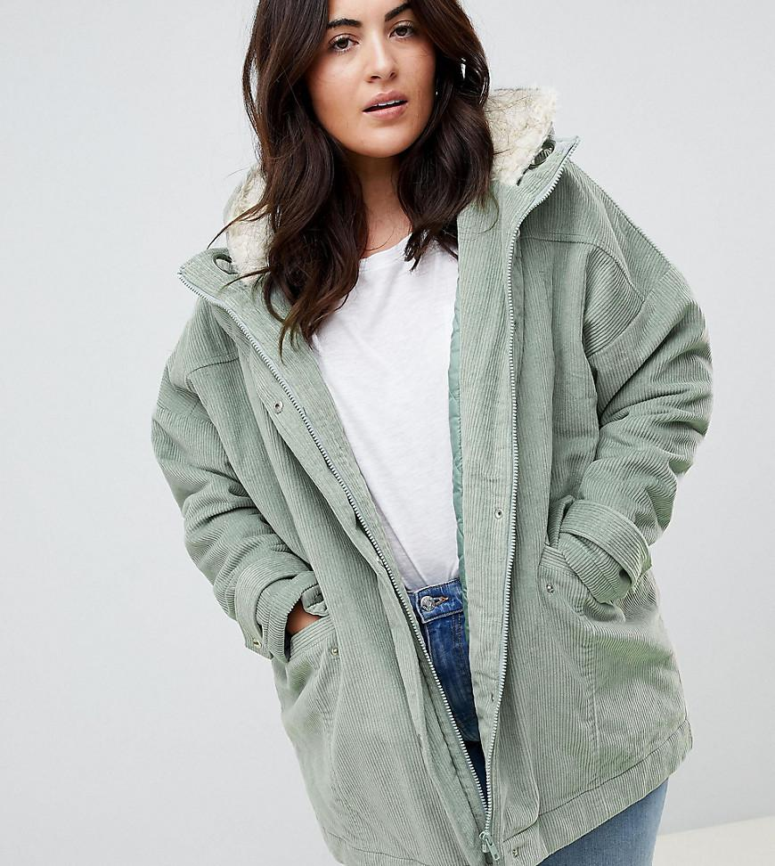 6917e41b666 Lyst - ASOS Asos Design Curve Cord Borg Hooded Parka in Green