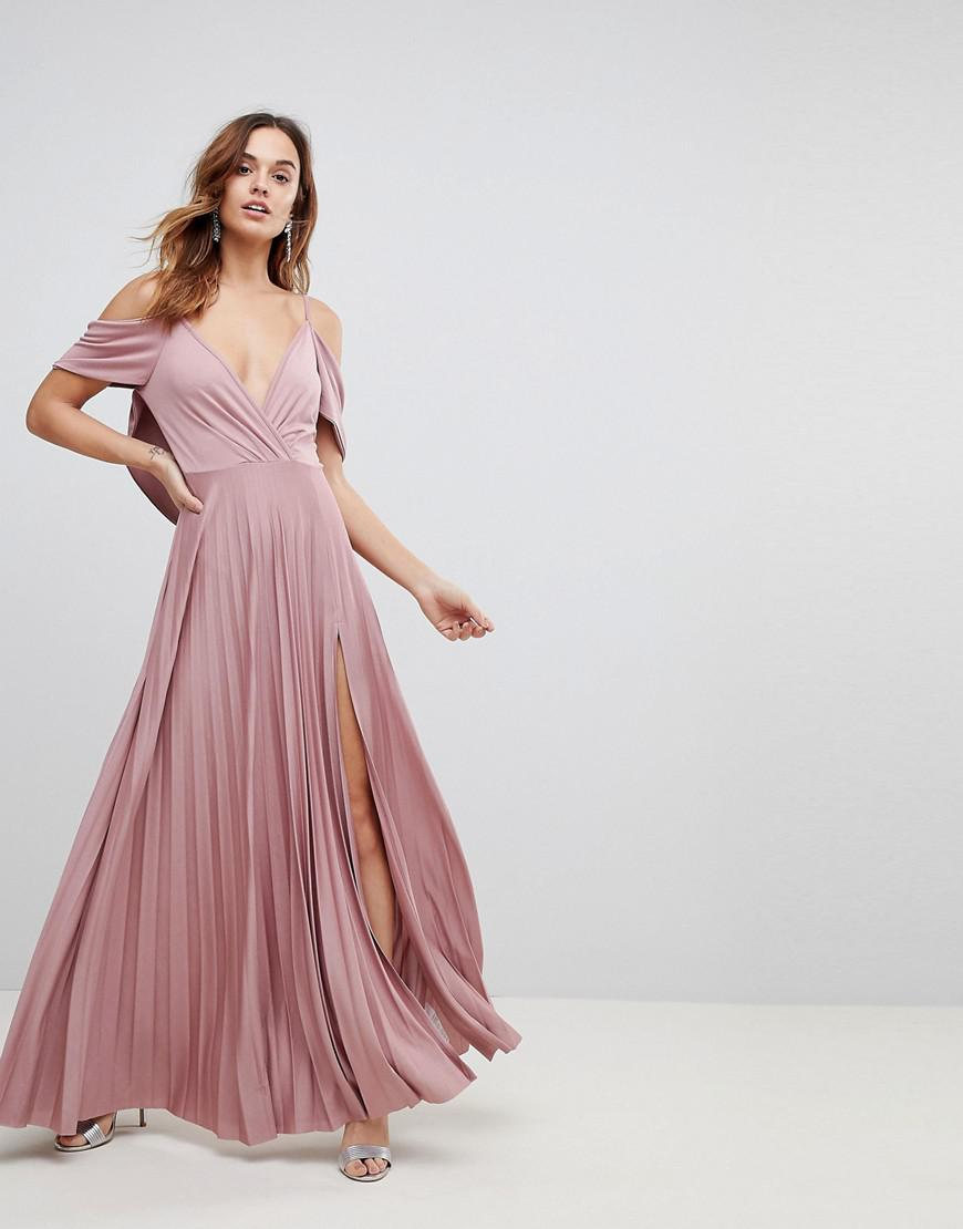 a9e28e8498 ASOS Asos Cold Shoulder Cowl Back Pleated Maxi Dress in Pink - Lyst