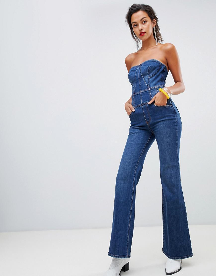 fc88d67cd25 Lyst - Miss Sixty Crop Flare Strapless Denim Jumpsuit in Blue