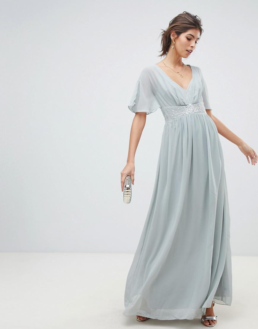 dd9c5a98dc0 Little Mistress Waterlily Chiffon Angel Sleeve Maxi Dress in Gray - Lyst