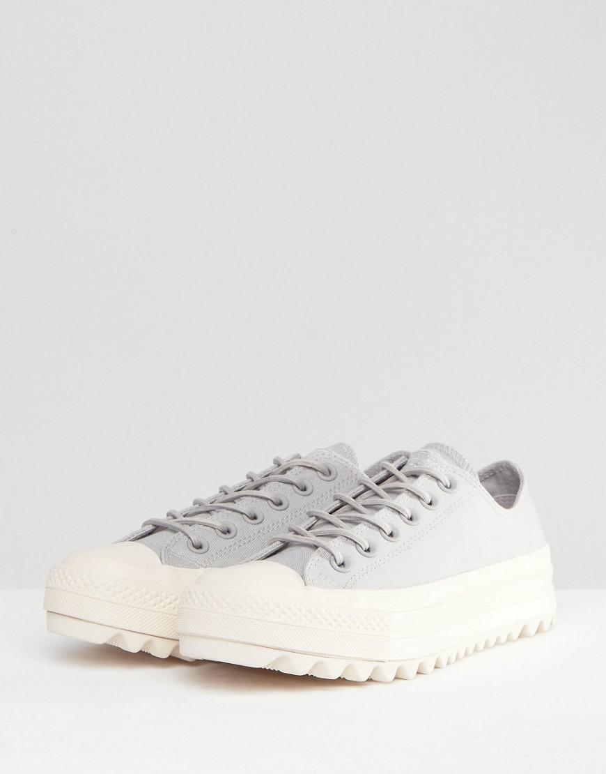 3616060e890d Lyst - Converse Chuck Taylor All Star Lift Ripple Ox Sneakers In Pale Gray  in Gray