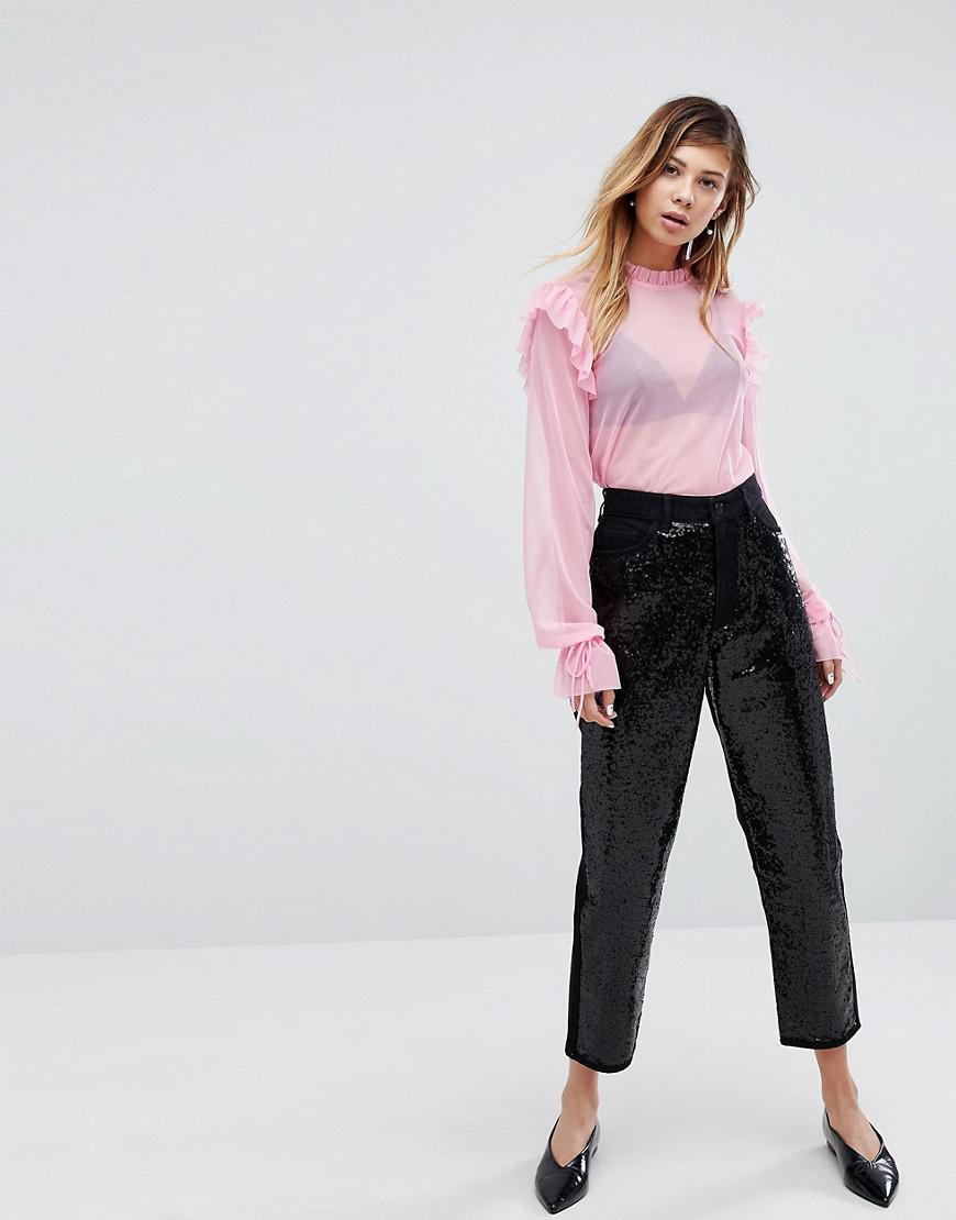 Monki Taiki Sequin Slim Mom Jeans