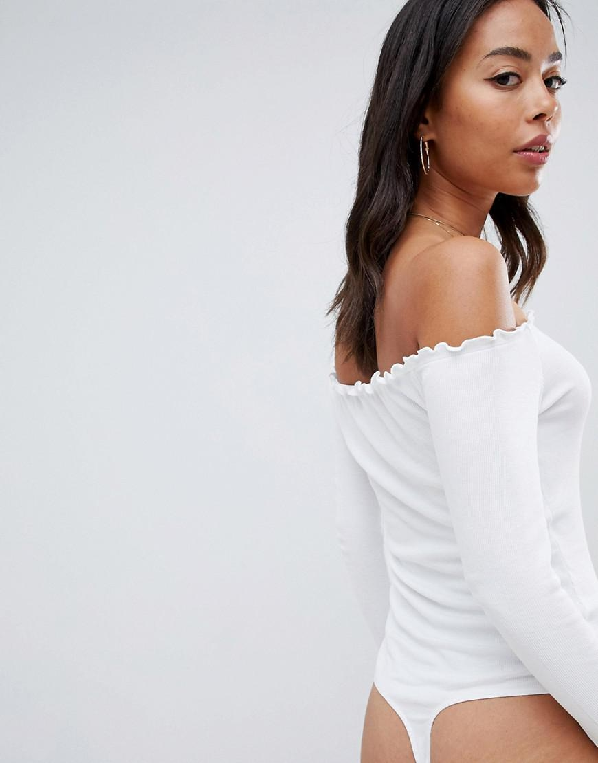 Lyst - ASOS Asos Design Tall Off Shoulder Body With Long Sleeves And  Lettucing In White in White 9c0602803