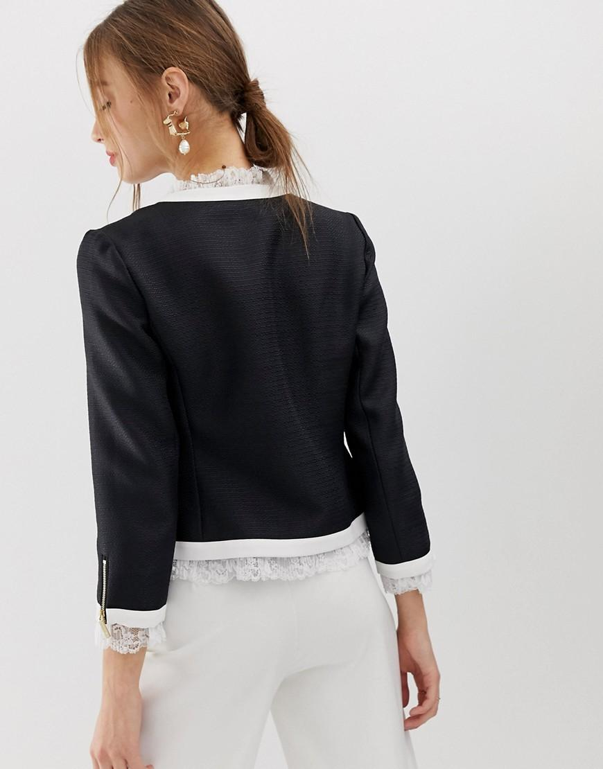 1359a16ca Ted Baker Lace Trim Contrast Crop Jacket in Black - Save 40% - Lyst