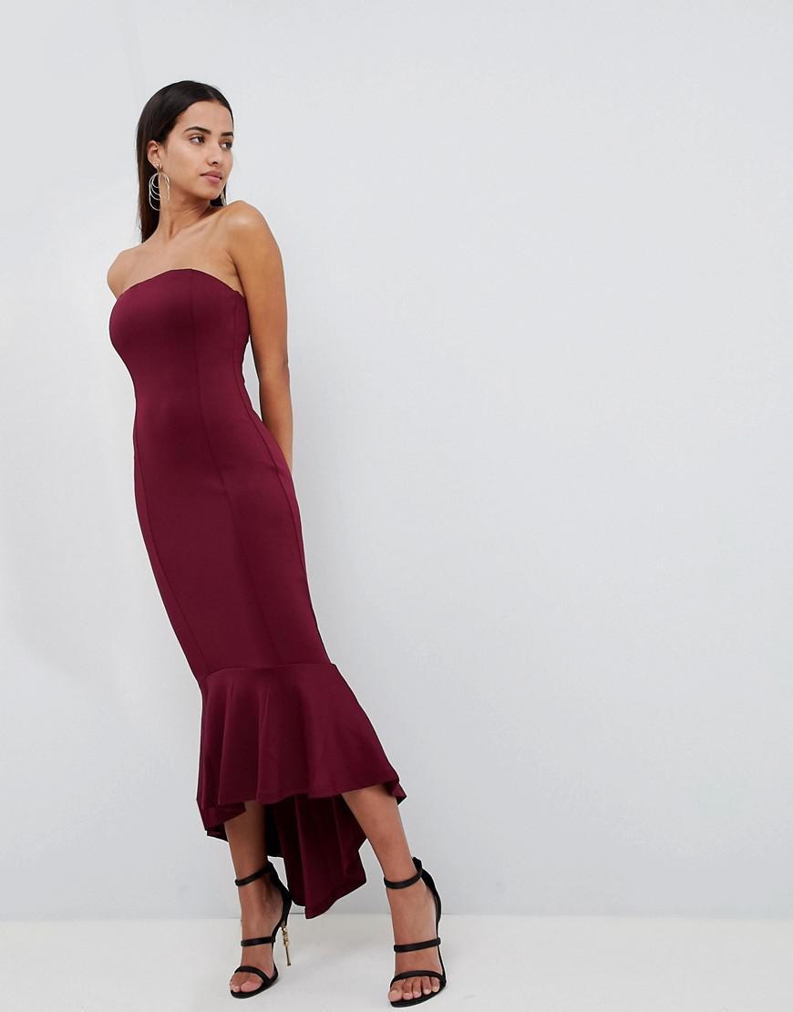 AX Paris Bandeau Midiaxi Dress With Peplum Hem in Purple - Lyst c8e3b4443