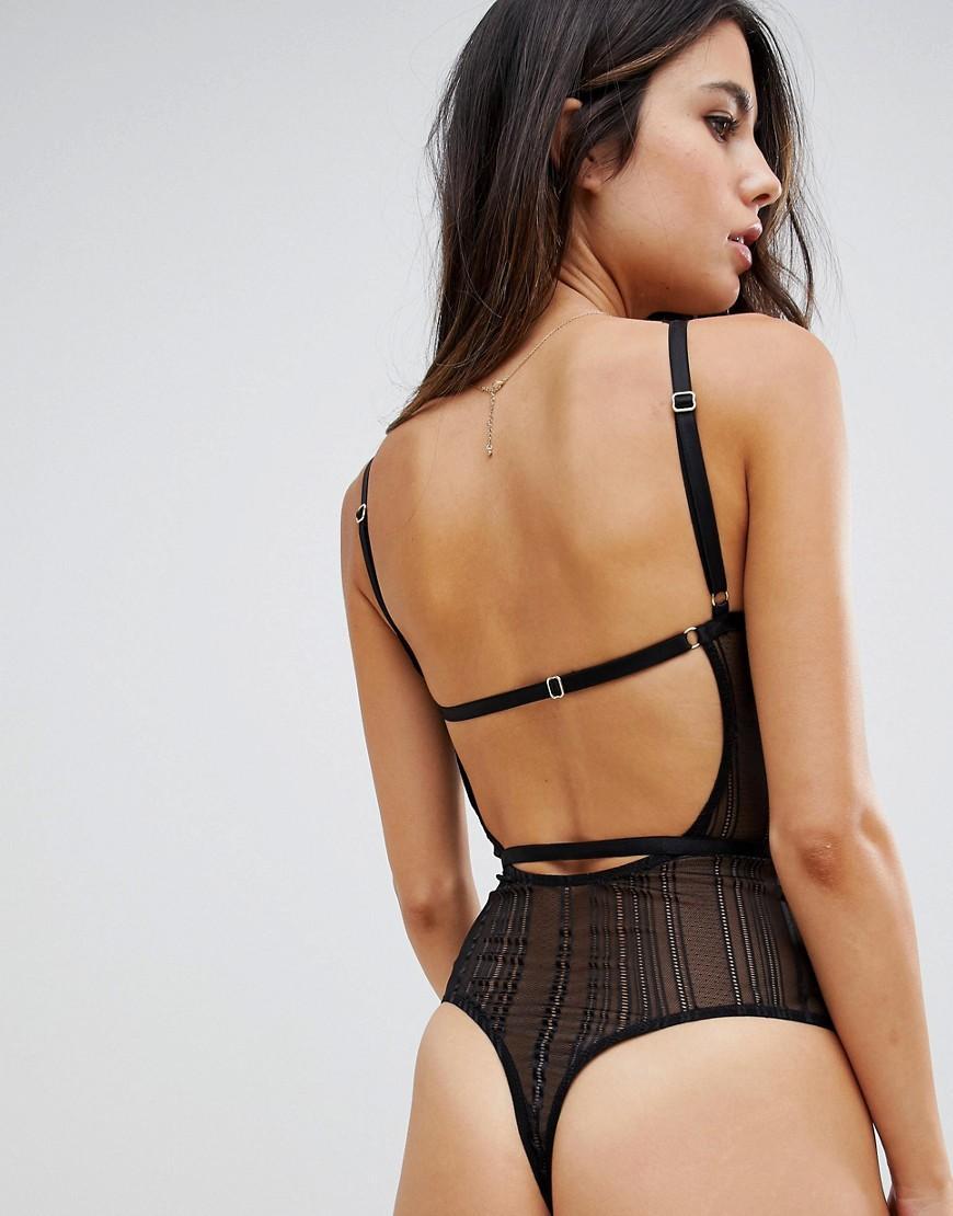 59fdfad7d5e48 ASOS Asos Design Morgan Linear Lace Underwire Bodysuit in Black - Lyst