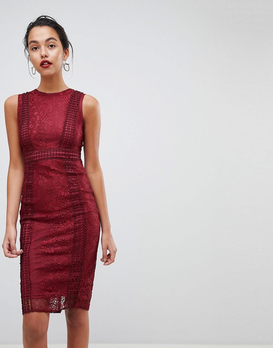 2f51d666014 AX Paris Premium Lace Midi Dress in Red - Lyst