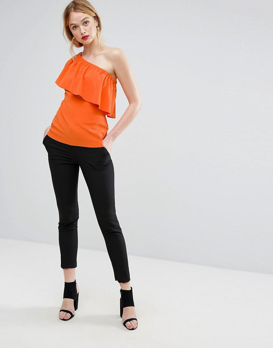 c34b117f4b9abb Lyst - Warehouse Crepe Ruffle One Shoulder Top in Orange