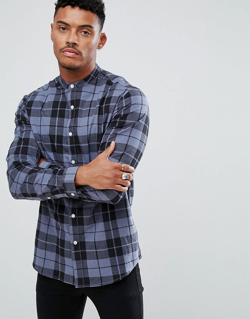 ASOS. Men's Stretch Slim Poplin Check Shirt With Grandad Collar In Blue