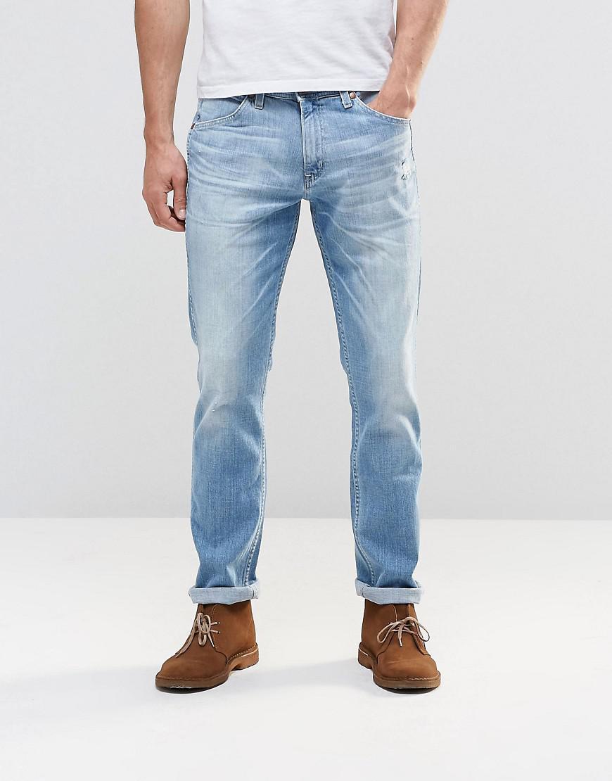 3aaedef2 Lyst - Wrangler Bostin Slim Jeans Sandstorm Light Distressed Wash in ...