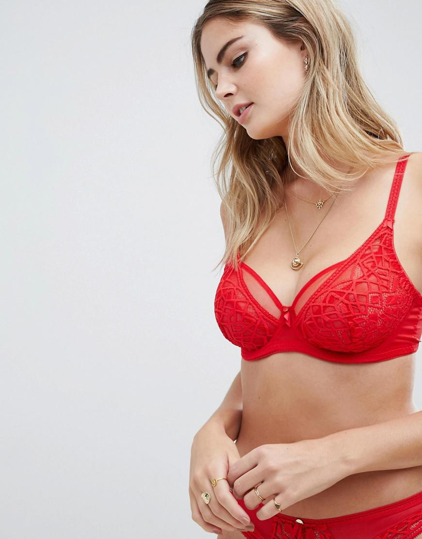 4bee481c82 Freya Soiree Lace High Apex Fuller Bust Bra in Red - Lyst