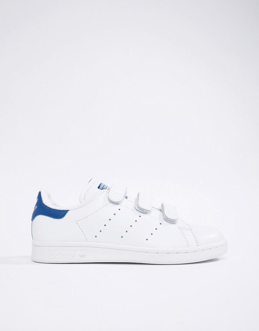 032d4e929fbe Lyst - adidas Originals Stan Smith Velcro Sneakers In White And Blue in  White