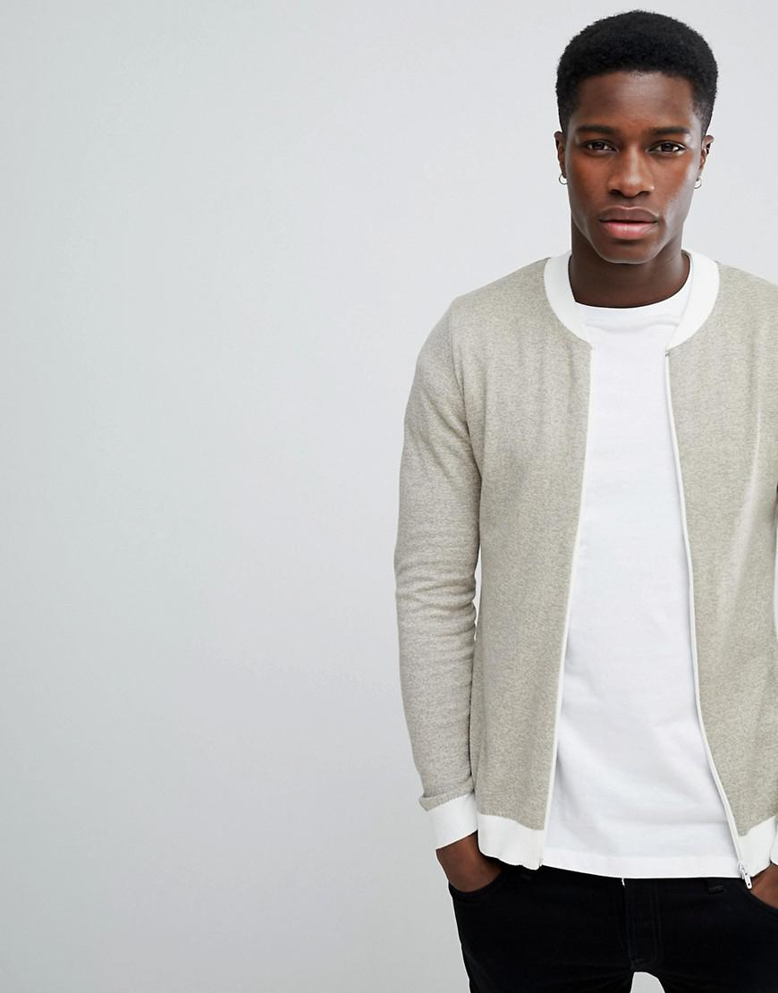 3a08a372f1e ASOS Muscle Fit Knitted Bomber Jacket In Oatmeal Twist in Natural ...
