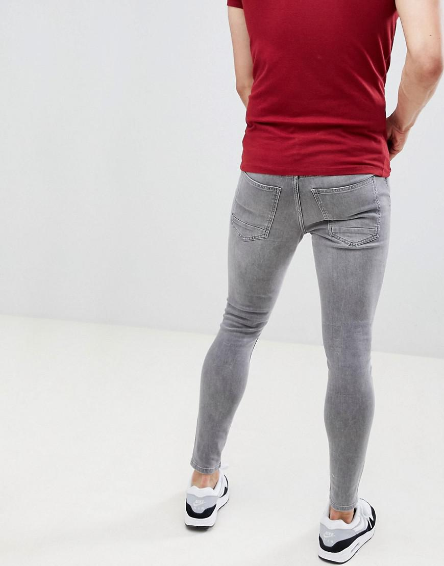 Lyst - Gym King Super Skinny Jeans In Gray With Distressing in Black ... f659020d1eda