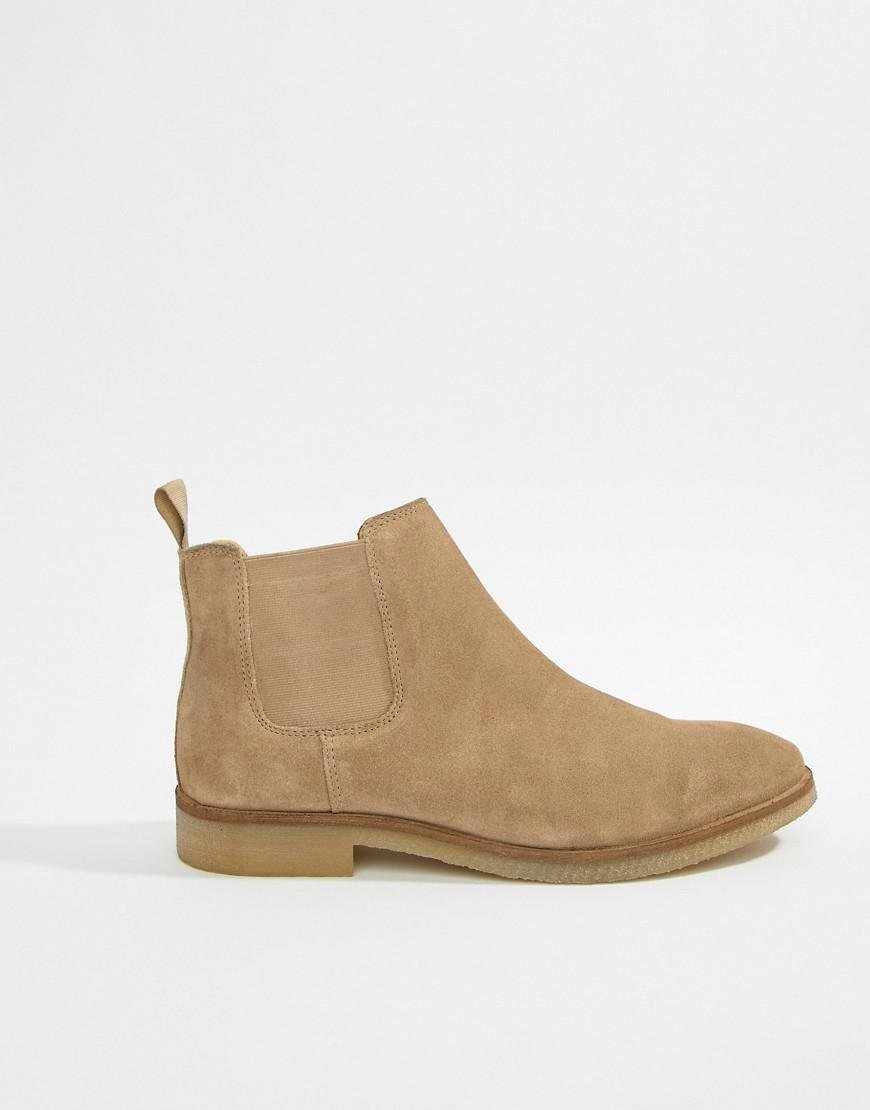 8270eec97 Lyst - ASOS Wide Fit Chelsea Boots In Stone Suede With Natural Sole in  Natural for Men