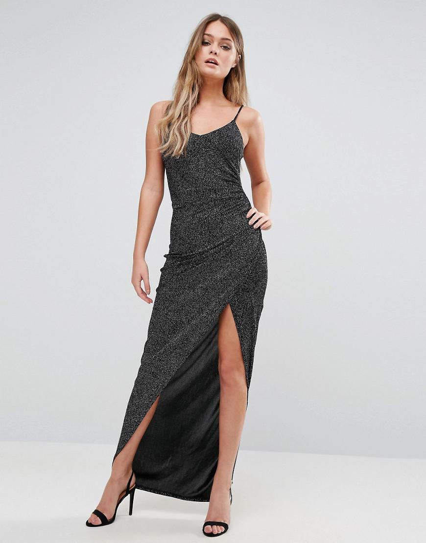 c3dbd2f7117bb0 New Look Glitter Maxi Dress in Black - Lyst