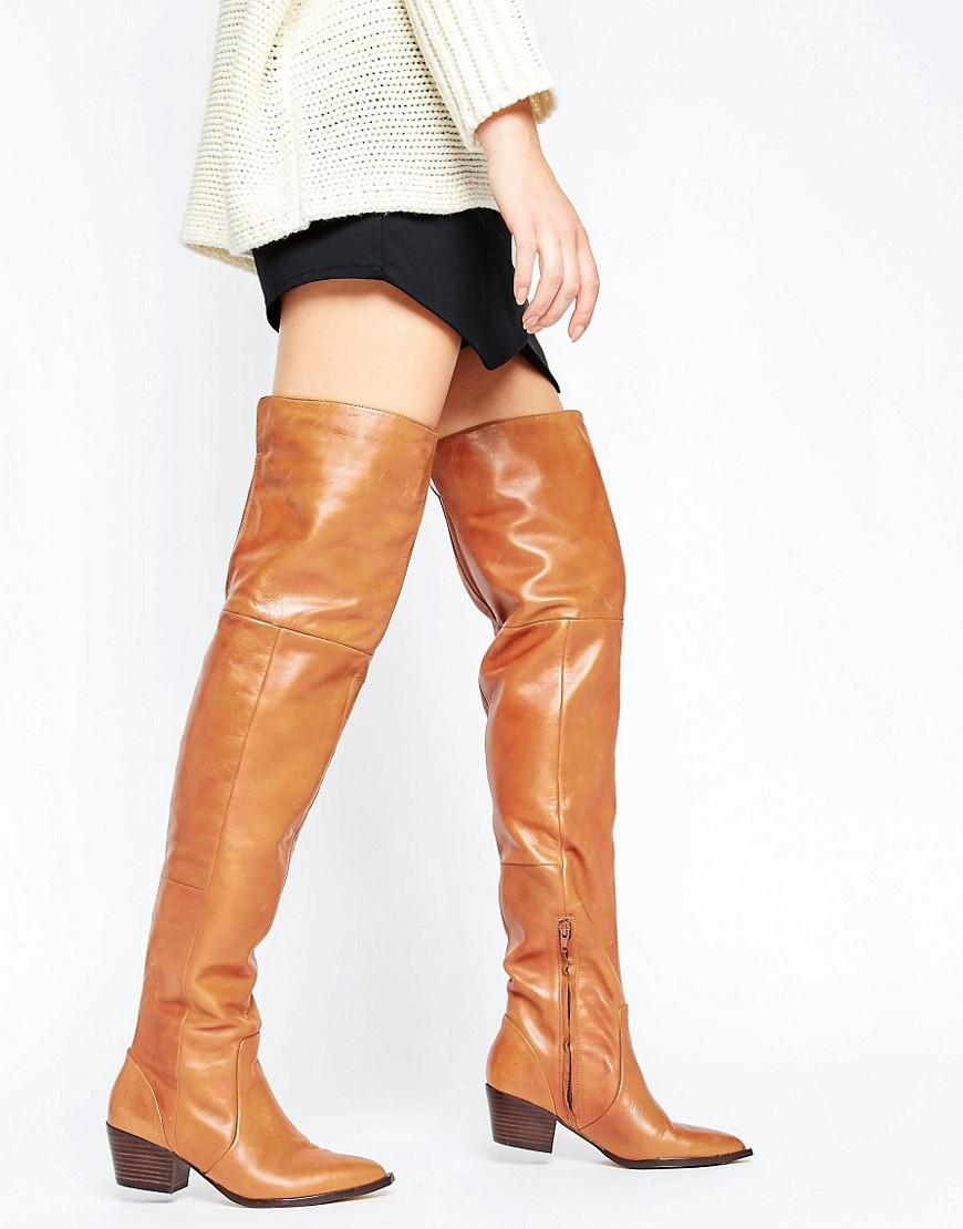 Lyst Aldo Deedee Western Leather Over The Knee Boots In