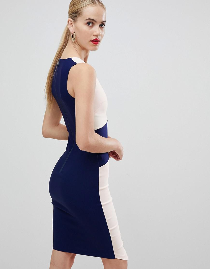 7ab4459e94 Lyst - Vesper Asymmetric Hem Pencil Dress In Color Block in Blue
