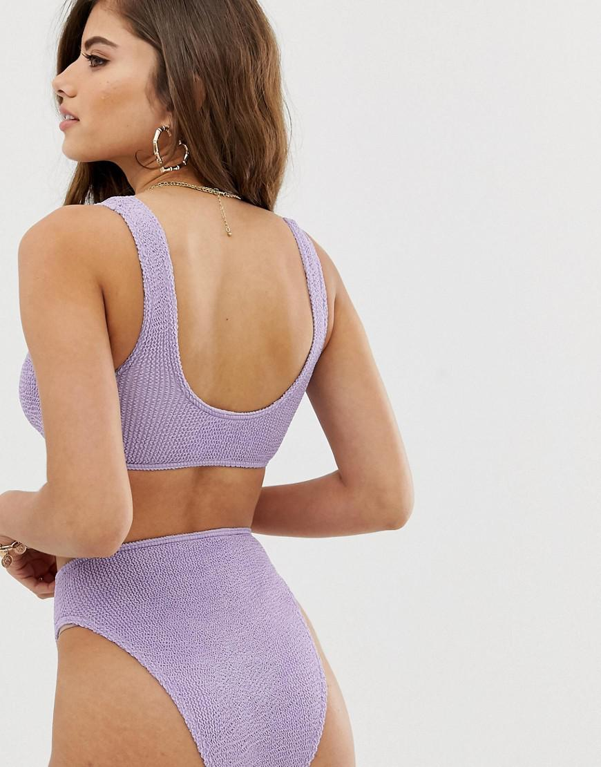 ec5f37bff791d Lyst - ASOS Fuller Bust Mix And Match Crinkle Crop Bikini Top In Shiny  Lilac in Purple